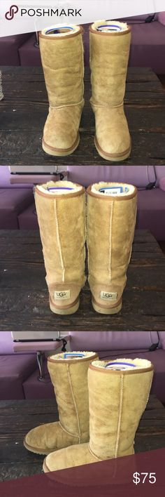 Authentic Tan UGG boots😍 Tan suede tall UGGs warm and comfy 😍.           Will look at all offers through the offer button please UGG Shoes Winter & Rain Boots