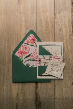 KATHRYN Suite Rustic Package, australian wedding invitations, floral wedding invitations, waratah flower pattern