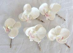 Mini de Bibis de cheveux orchidée blanche real touch phalaenopsis orchid hair clips cheveux bridal clip tropical fascinator