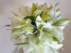 White Asiatic Lily with Curly Willow Accents - Brides Bouquet