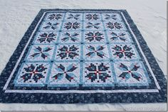blue and red quilt