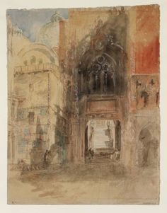 Artwork page for 'The Porta della Carta of the Palazzo Ducale (Doge's Palace), Venice, beside the Basilica of San Marco (St Mark's)', Joseph Mallord William Turner, 1840 Landscape Art, Landscape Paintings, Oil Paintings, Landscapes, Collages, Joseph Mallord William Turner, Royal Academy Of Arts, Sketch Painting, Beautiful Drawings