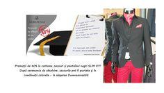 Promoții de 40% la costume, sacouri și pantaloni negri SLIM FIT! După ceremonia de absolvire, sacourile pot fi purtate și în combinații colorate - la alegerea Dumneavoastră Summer Heat, Spring Summer 2015, Slime, Suit Jacket, Trousers, Breast, Costume, Fit, Jackets