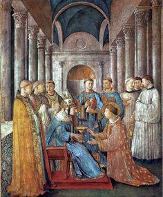 Fra Angelico: Papst Sixtus ordiniert Laurentius, Fresko. 1447 - 49, in der Cappella Niccolina der Palazzi Pontifici im Vatikan