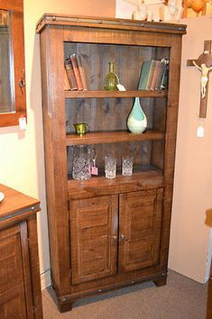 Addison Reclaimed Solid Wood Bookshelf / Wine Cabinet / Decorative Cabinet - Crafters & Weavers - 1
