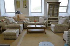 Living : JASMINE 3 Seater Sofa, 2 Armchairs and Storage Footstool