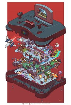 I drew a Nintendo 64 exploded view - gaming King Kong, N64, 24 X 36 Posters, Classic Consoles, Exploded View, Geek Art, Video Game Art, Final Fantasy, Master Chief
