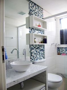 Most Popular Small Bathroom Remodel Ideas on a Budget in 2018 This beautiful look was created with cool colors, and a change of layout. Bathroom Wall Storage, Bathroom Interior, Small Toilet, Bathroom Toilets, Bathroom Faucets, Bathroom Lighting, House Ideas, Home Kitchens, Sweet Home