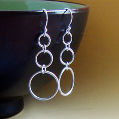 Circle Earrings  Handmade Sterling Silver by NewMorningJewelry, $18.00