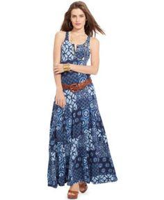 Lauren Jeans Co. Sleeveless Printed Maxi Dress   macys.com