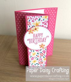 Garden Impressions Fancy Fold card Stampin' Up! Garden Impressions Fancy Fold card Stampin' Up! Simple Birthday Cards, Birthday Cards For Women, Handmade Birthday Cards, Happy Birthday Cards, Greeting Cards Handmade, Scrapbook Birthday Cards, Fun Fold Cards, Folded Cards, Cards To Make