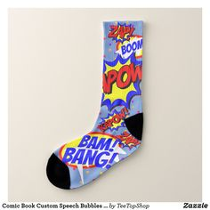 Comic Book Custom Speech Bubbles Colorful Dots Socks Great Gifts For Guys, Bubbles, Dots, Comic Books, Colorful, Comics, Nice, Stitches, Cartoons