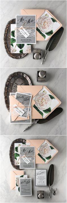 Grey Peach Invites, Lace Wedding Invitation Suite, Camellia Wedding Invitations, Floral Botanical Invitations