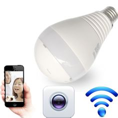 LED Bulb Light with 360 degree WiFi LED Bulb Camera Panoramic Wireless IP Bulb Camera Smart Home 3D VR Camera Home Security
