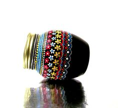 Hand Painted Jar with Lid Upcycled Jar by PearlesPainting on Etsy, 32.00