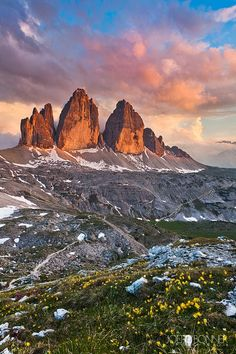 Tre Cime Sunset , The Dolomites, Italy  | Travel Italy | Italy Highlights | Italy Hiking Trails | Top Things To Do Italy | Top Towns In Italy | Top Sights Italy | Best Of Italy | Italy On A Budget | Italy National Parks | Italy Budget Travel | Backpacking Italy | Italy Best Beaches | Italy Travel Guide | What To Do In Italy | Dolomites