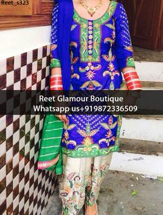 Smashing Blue And Cream Embroidered Punjabi Suit Product Code : Reet_s323 To Order, Call/Whats app On +919872336509 We Offer Huge Variety Of Punjabi Suits, Anarkali Suits, Lehenga Choli, Bridal Suits,Sari, Gowns Etc .We Can Also Design Any Suit Of Your Own Design And Any Color Combination.