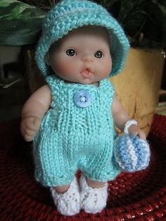 Bib-Romper-Set-for-Berenguer-5-inch-inc-hat-toy-ball-Knit-doll-clothes-OOAK