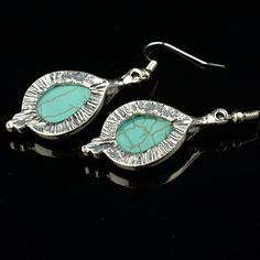 Amazon.com:$8.50  Ginasy Silver Plated Turquoise Drop Earrings: Jewelry