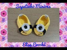 SAPATINHO MINIONS EM CROCHÊ ( 0 à 3 MESES) # ELISA CROCHÊ - YouTube