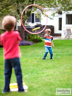Flying Saucers: For a homespun version of disc golf, hang a hoop from a branch or clothesline, then grab a Frisbee and try these three spins on the game.
