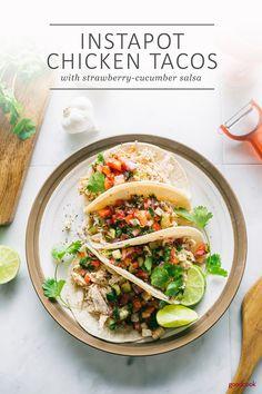 Instapot Chicken Tacos #dinners #chickentacos #instantpot #instantpotrecipes #chicken #strawberry #salsa