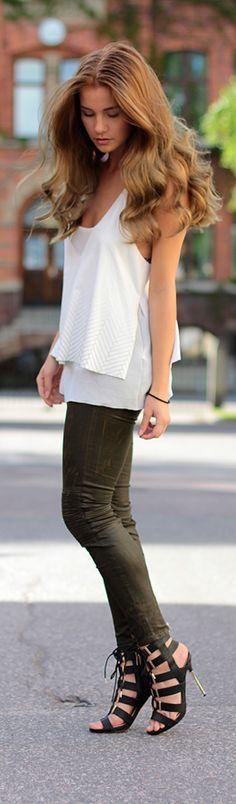 Khaki Leather / Fashion by Lynda Ryden