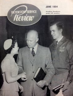 President Eisenhower greets 4-H members (June 1954, Extension Service Review)