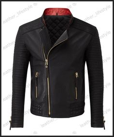 New Men s Genuine Lambskin Leather Jacket Black Slim fit Biker Motorcycle  jacket 10e38285a29b