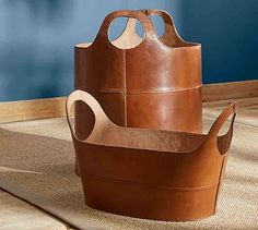 """Hayes Leather Storage Baskets #potterybarn___22"""" long, 12"""" wide, 8"""" high_$215"""