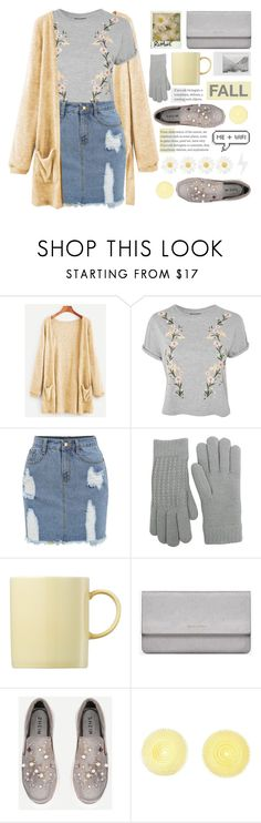 """""""Gray & Yellow ♡"""" by lana-baloley ❤ liked on Polyvore featuring Topshop, Fits, Polaroid, Rosenthal and Yves Saint Laurent"""