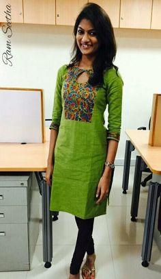 green stylish kurti - everyday n Salwar Designs, Churidar Neck Designs, Kurta Designs Women, Kurti Designs Party Wear, Salwar Pattern, Kurta Patterns, Kurti Sleeves Design, Kurta Neck Design, Dress Neck Designs