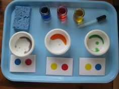 Mixing colors using a dropper: primary and secondary colors