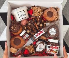 nutella, food, and chocolate image Cute Gifts, Diy Gifts, Graze Box, Dessert Boxes, Tumblr Food, Sweet Box, Food Platters, Diy Birthday, Food Gifts