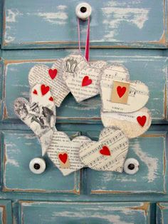 Heart wreath with music sheets/could use newspaper or book pages