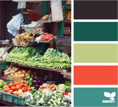 market hues: from Design Seeds, such a cool website! You can search by color, by hue, value, etc.