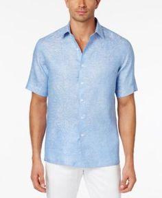 Tasso Elba Men's Paisley Jacquard Shirt, Only at Macy's - Blue XXL