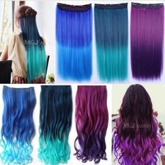 Colored Clip in Hair Extensions New Curly Straight Full Head Clip in Hair Extensions, 5 clips, brand new in package. Will bundle and discount, if interested message me and let me know what color/style you want. Accessories