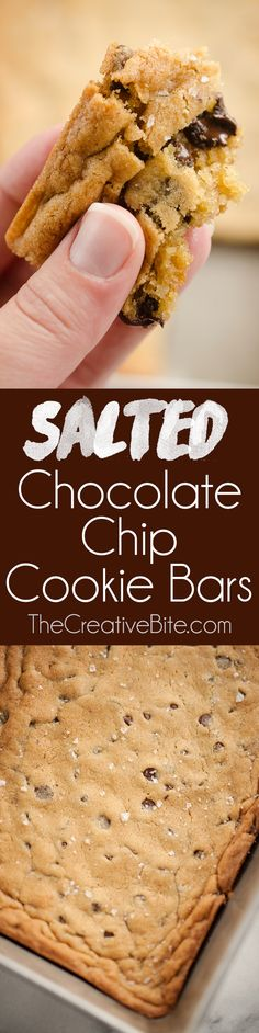 Salted Chocolate Chip Cookie Bars are a traditional blonde brownie with a sweet and salty twist for a quick and easy dessert the whole family will love. (desserts with cookie dough families) Nutella Cookies Easy, Salted Chocolate Chip Cookies, Chocolate Desserts, Best Dessert Recipes, Sweet Recipes, Cookie Recipes, Bar Recipes, Brunch Recipes, Drink Recipes