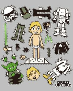 "Dress up Luke (Star Wars) by Scott Weston Eastbourne, UK artist Scott Weston (aka ""Hoborobo"") has created a three part series of dress up pop culture Marty Mcfly, Star Wars Birthday, Star Wars Party, Pixel Art Objet, Paper Toys, Paper Crafts, Tema Star Wars, Star Wars Dress, Anniversaire Star Wars"