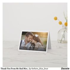 Shop Romantic Handwriting Script Stylish Photo Wedding Thank You Card created by fatfatin_blue_knot. Personalize it with photos & text or purchase as is! Thank You Card Size, Custom Thank You Cards, Thank You Note Cards, Wedding Thank You Cards, Wedding Invitation Cards, Card Wedding, Wedding Postcard, Floral Save The Dates, Thank You Photos