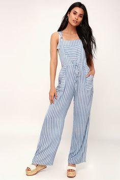 Portofino Blue and White Striped Overalls Leotard Fashion, Stripe Print, Drawstring Waist, Leotards, Perfect Fit, Overalls, Jumpsuit, Blue And White, Leggings