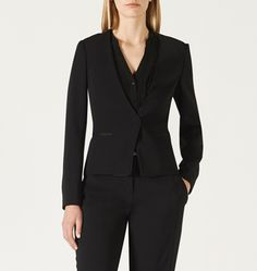 DAVID LAWRENCE | Linden Satin Trim Tuxedo Jacket #davidlawrence Power Dressing, Tuxedo Jacket, David, Blazer, Jackets, Fashion, Down Jackets, Moda, La Mode