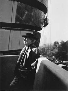 Frank Lloyd Wright during construction of the Solomon R. Guggenheim Museum, ca. 1959