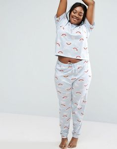 CURVE Cloud   Rainbow Short Sleeve Tee   Pajama Pant Set. Asos CurvePlus  Size ... 57f3d2719