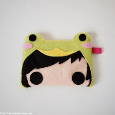 Felt iPhone Case / iPhone 4 Case / iPod touch Case / Pouch -- Girl with Prince Frog Costume. $14.00, via Etsy.