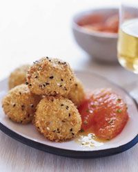 """Crab Balls with Grapefruit Salad...Recipe for Joes Crab Shack """"Great Balls of Fire"""" With shrimp, crab, jalapeno, and cream cheese they are awesome"""