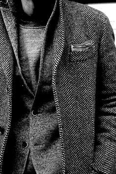 layering Grey jacket, Shades of Herringbone, men's fashion Sharp Dressed Man, Well Dressed Men, Looks Style, My Style, Mode Lookbook, Look Fashion, Mens Fashion, Style Masculin, Mode Costume
