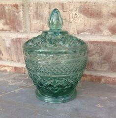 Stunning Starburst / Crisscross / Diamond Pressed Glass Covered Candy Dish / Bowl - Aqua / Teal / Light Blue-Green on Etsy, $17.95