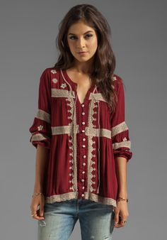 FREE PEOPLE Iris Boho Top in Deep Cranberry